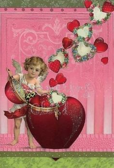 Valentine card Angel heart angels by ShimmeringCloud on Etsy, $1.50