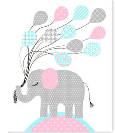 Elephant Nursery Art, Balloons, Aqua Grey Pink, Girl's Nursery Decor, Baby Shower Gift, Baby Girl, Canvas Nursery, Elephant Canvas Art by SweetPeaNurseryArt on Etsy