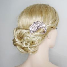 Fashion Chunky Peacock Feather Clear Swarovski Crystal Hair Comb Bridesmaid | eBay