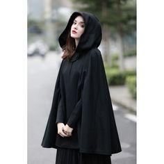 hooded black wool coat
