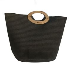 Black Straw Beach Tote Bag w:Wood Handle