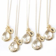 """• Crystal Initial Necklaces • These crystal initial necklaces are perfect for a gift to yourself or someone close to you! They make great wedding or bridesmaid necklaces! Made of nickel + lead free zinc alloy. Does not tarnish. Available in different initials. $22 each. *PLEASE NOTE I ONLY HAVE LETTERS IN STOCK AS SHOWN BELOW  ♥Color: Gold with clear crystals  ♥Chain Color: Gold  ♥Chain Length: 16""""   ♥Pendant Size: 1.5 cm  ♥Chain type: Link Chain with lobster clasp Jennifer's Chic Boutique…"""