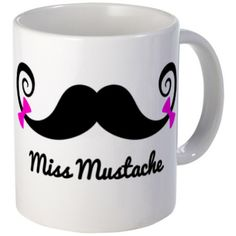 Miss Mustache design with pink bows Mug #Mustache