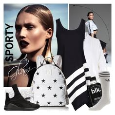 """SPORTY B&W"" by tiziana-melera ❤ liked on Polyvore featuring TIBI, Y-3, Tommy Hilfiger, Puma and adidas"