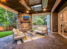 Dream house plans: Modern Craftsman House Plan With Great Room - Backyard Patio Designs, Patio Ideas, Fun Backyard, Large Backyard, Porch Ideas, Outdoor Ideas, Design Jardin, Outdoor Living Rooms, Modern Craftsman