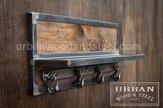 Organize your entryway with this reclaimed wood shelf, banded with raw sealed steel. Heavy duty tow hooks are perfect for hanging jackets, scarves, and hats. The tow hooks swing side to side. Winter is coming - get your home ready with this rugged wall organizer. DIMENSIONS: 22W x 12.5H x 7D (3 Hooks) 36W x 12.5H x 7D (4 Hooks) 45W x 12.5H x 7D (6 Hooks)  ************************************************************************************  Please read our shipping policies before ordering…