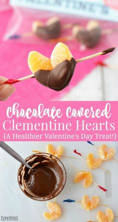 Use the tutorial on how to make Chocolate Dipped Clementine Hearts to make healthier Valentine's Day treats. This chocolate-orange recipe is perfect for parties! Includes a free printable Valentine baggy topper to make an edible Valentines. Delicious  #valentines  Day #chocolate covered #orange dessert recipe.