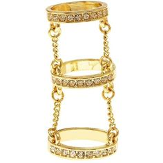 Charlotte Russe Rhinestone Chain Cage Ring (£3.10) ❤ liked on Polyvore featuring jewelry, rings, accessories, gold, golden ring, stackable rings, pave band ring, rhinestone jewelry and golden jewellery