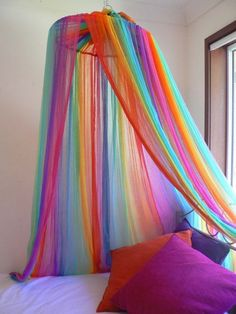 Ideas Bedroom Diy Canopy Reading Corners For 2019 Rainbow Bedroom, Rainbow Curtains, Rainbow Room Kids, Diy Canopy, Canopy Bedroom, Canopy Tent, Unicorn Bedroom, Rainbow Decorations, Home And Deco