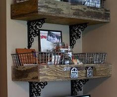 I like this for my bar shelves so things don't accidentally slide out. DIY shelves idea: two large wood boxes (crates) supported by iron brackets Home Organization, Shelves, Home Projects, Diy Furniture, Home Improvement, Home Decor, Home Diy, Pallet Furniture, Old Wooden Boxes