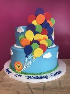 2 Tier Up Up & Away Balloon Cake One Year Birthday Cake, Baby Birthday Cakes, Fondant Cakes, Cupcake Cakes, Candy Bar Comunion, Balloon Cake, Sweet Bakery, Sweets Cake, Cake Pictures