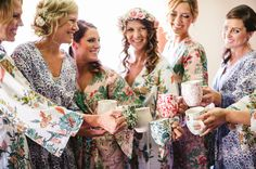 Floral robes + anthropologie bridesmaid mugs