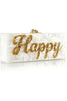 Edie Parker|Flavia Happy acrylic box clutch|NET-A-PORTER.COM