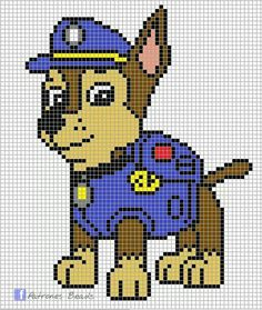 Discover thousands of images about Paw Patrol Pattern - Chase PAW Patrol perler pattern Patrones Beads Plantillas Beading Patterns, Embroidery Patterns, Cross Stitch Patterns, Crochet Patterns, Art Patterns, Pearler Bead Patterns, Perler Patterns, Chase Pat Patrouille, Crochet Pixel