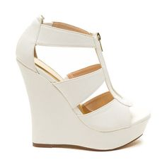 High Noon Faux Leather Wedges WHITE (49 CAD) ❤ liked on Polyvore featuring shoes, heels and boots, white, white platform shoes, synthetic leather shoes, strap shoes, white wedge heel shoes and white shoes