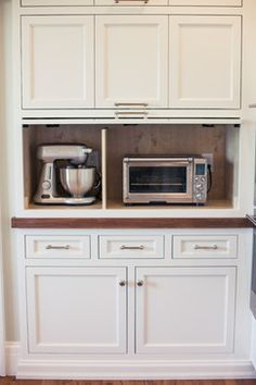appliance cabinet/idea when i add cabinets to long kitchen wall. maybe have a coffee bar area too.