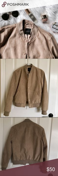 Faux Suede Bomber Jacket Great bomber jacket. Chic camel faux suede. Discoloration on one button (shown in photos) UK size 8 but fits like a US 4 or small. ASOS Jackets & Coats
