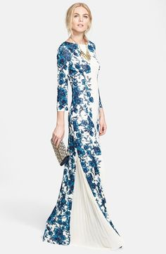 Tory Burch Maxi Dress & Embellished Suede Clutch  available at #Nordstrom