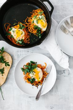 Spiralized sweet potato egg nests are a simple, delicious and healthy breakfast recipe. It's one of my favorite spiralized sweet potato recipes and it's perfect for a weekend breakfast or brunch.