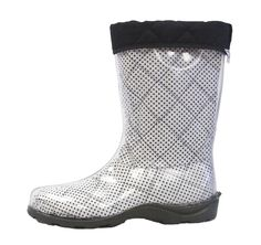 NEW!! One of our #Spring liners! White and black polka-dot with black binding is practical, yet so much fun to wear! Shop at http://www.thetwoalitystore.com/browse/liners to get your pair! #ClearBoots #BootsByTwoAlity #MadeinUSA