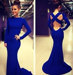 Blue Plain Cross Back V-Back Neck Long Sleeve Sexy Maxi Dress