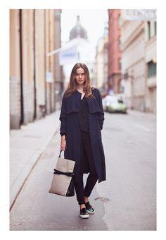 Caroline Blomst. Coat H, tote Little Liffner, jeans H, shoes Celine and top Isabel Marant.