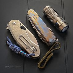 """Bases covered on titanium Tuesday. It's been a bit hectic lately and I've fallen behind on IG a bit. My apologies for any late replies! Stabilized Wood, Edc Tools, Edc Gear, Custom Knives, Swiss Army Knife, Everyday Carry, Bronze, Brass, Camping"