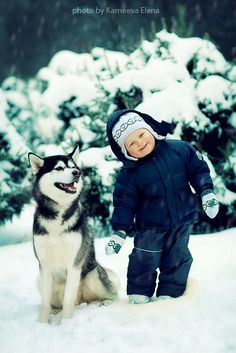 Boy and husky in snow.