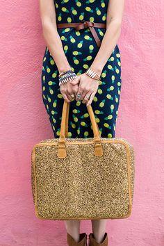 pineapple dress, glitter duffle bag, and 31Bits jewelry #fun #girly #style