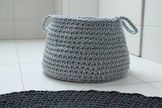 Cotton light grey basket ZURI