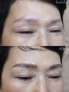 Semipermanent eyebrows tattoo. It's the newest style of eyebrows tattoo calls 3D tattoo/ hair stroke tattoo.  Korean style eyebrows/ covered customer's old eyebrows tattoo  Covered her old tattoo. Fallow this trend eyebrows make her more soft and young looking