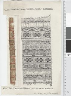 Oseberg Findings from folder 'Oseberg, textiles - silk': Silk Fabric 6, fragment 12. The character of Sofie Krafft: a / ink drawing ('trying construction') and b / watercolor ('character') and cut out. Measure A / B: 19.5 cm, H: 30 cm, b / B: 3.3 cm H, 22.5 cm.