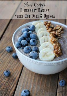Slow Cooker Blueberry Banana Steel Cut Oatmeal & Quinoa - Organize Yourself Skinny Make Ahead Breakfast, Breakfast Recipes, Breakfast Ideas, Quinoa Breakfast, Free Breakfast, Easy Healthy Breakfast, Breakfast Time, Gourmet Recipes, Healthy Recipes