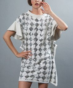 Loving this White & Silver Dress on #zulily! #zulilyfinds....I'm not sure if this is my style...and where would I wear it???