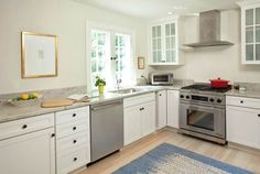 kitchen design without upper cabinets - Google Search