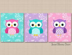 Owl Nursery Decor, Baby Room Decor, Nursery Wall Art, Girl Nursery, Elephant Nursery, Dandelion Nursery, Dandelion Wall Art, Purple Teal Nursery, Owl Baby Rooms