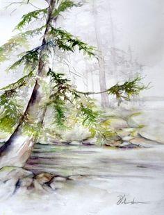 Watercolour, Creekside Fir, Coastal, British Columbia, Trees, Perry Johnston
