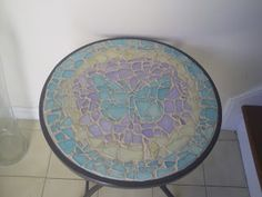 Flat Sea Glass Mosaic Table - Very easy to make.