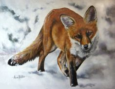 Snow Is Glistening - Red Fox Original Oil Painting, painting by artist Anne Zoutsos