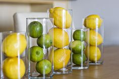 Love using lemons and limes as centerpieces