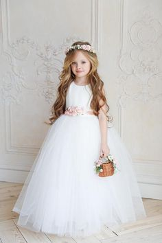 Excited to share this item from my shop: Flower girl dress, White tulle child dress, White flower girl dress, First communion dress Ivory Flower Girl Dresses, Little Girl Dresses, Flower Girls, Buy Dress, Dress Up, Girls Party Dress, Party Dresses, Hair Wreaths, Dress Picture