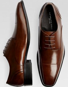 Kenneth Cole Sur-Real Burnished Brown Leather Lace-Up Shoes