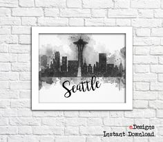 Printable Seattle Watercolor Decor Seattle Skyline by eDesignss