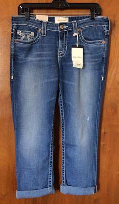 NWT BIG STAR KATE CROP Blue Jeans Size 28 Mid Rise Straight Leg Boyfriend Denim #BigStar #BoyfriendCapriCropped