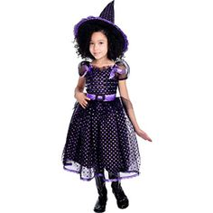 RG Costumes Black & Purple Sparkle Witch Dress-Up Set - Girls ...