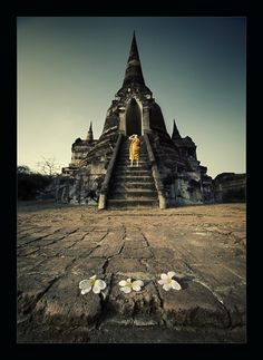 Flowertemple - foto gemaakt in Ayutthaya, Thailand