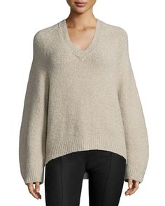 V-Neck+Lantern-Sleeve+Cashmere-Blend+Sweater,+Taupe+by+Adam+Lippes+at+Bergdorf+Goodman.