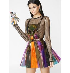 Beam Me Up Hologramm Overall Kleid Festival Outfits, Festival Fashion, Festival Clothing, Rave Outfits, Fashion Outfits, Neon Top, Vinyl Dress, Festival Tops, Overall Dress