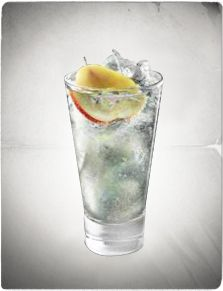 Tanqueray Fizz Winter cocktail - 1/2 lemon, 1/2 pear, 1.25 oz. Tanqueray, 1/2 oz. simple syrup, add ice and soda