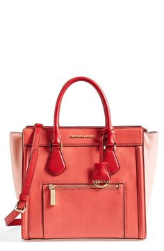Free shipping and returns on MICHAEL Michael Kors 'Colette - Large' Leather Satchel (Nordstrom Exclusive) at Nordstrom.com. Turn up the color with this elegantly structured satchel fashioned from richly hued leather. An adjustable shoulder strap, monogrammed key fob and polished gilt hardware make this bag an absolute must-have.